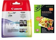 Druckerpatronen Set Canon PG-510 + CL-511, Original + Foto Papier